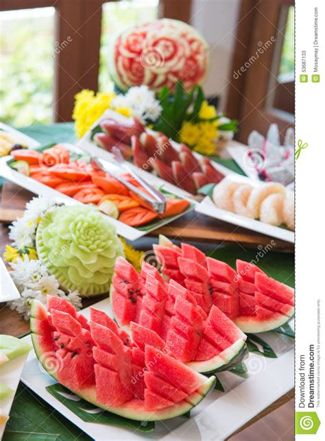 Fresh Fruit On Buffet Line Stock Image Image Of Pineapple Pineapple Buffet L