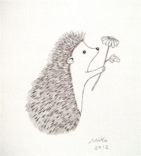 minimalist hedgehog tattoo hedgehog illustration ink drawing print black white wall