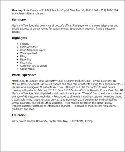 Example Of Resume Headline by Professional Medical Office Specialist Templates To