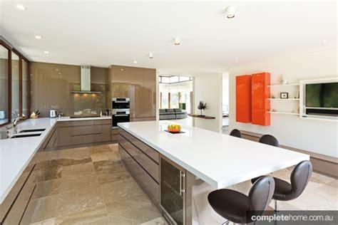 White Kitchen Dark Island Modern Living Kitchen Design Completehome