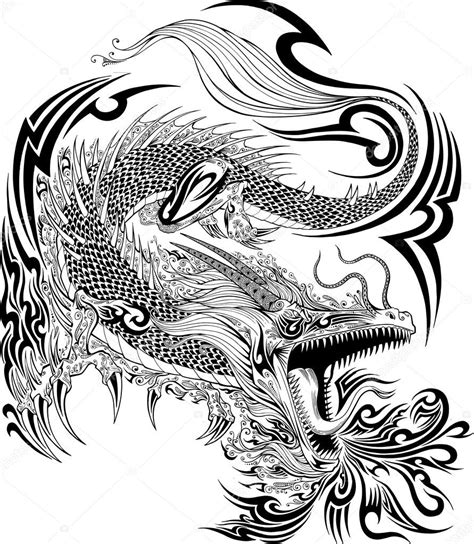 dragon tattoo vector illustration for doodle sketch vector stock vector