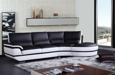 black and white sectional couch divani casa rapture modern black and white eco leather