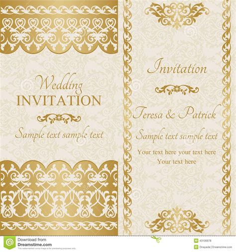 Baroque  Ee  Wedding Ee   Invitation Gold Vector
