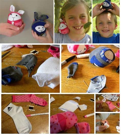 sock craft animal friend using pink handmade animal