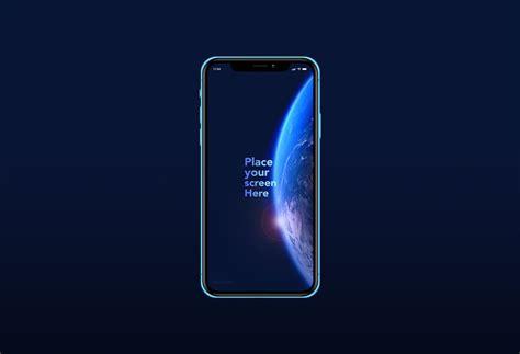 blue iphone xr free psd mockup