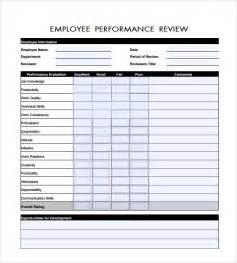 employee performance review templates sle employee review template 6 free documents