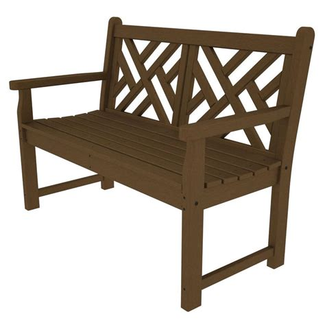 polywood benches polywood chippendale 48 in teak patio bench cdb48te the