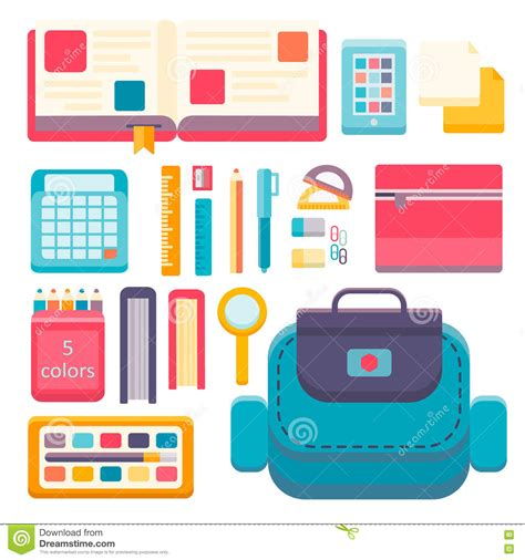 school supplies icon set back back to school flat design modern vector illustration