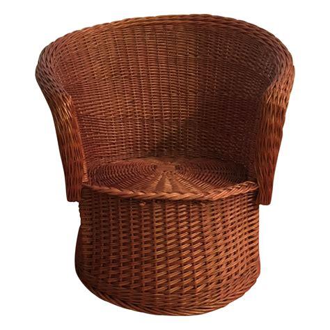 wicker barrel chair vintage rattan barrel arm chair chairish