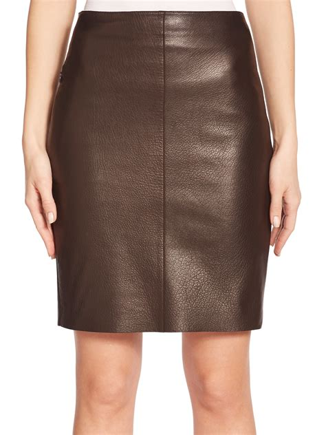 akris nappa leather pencil skirt in brown lyst
