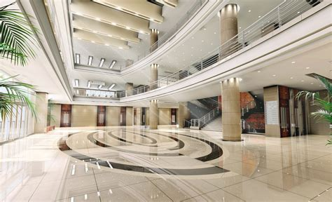 financial group building lobby interior design