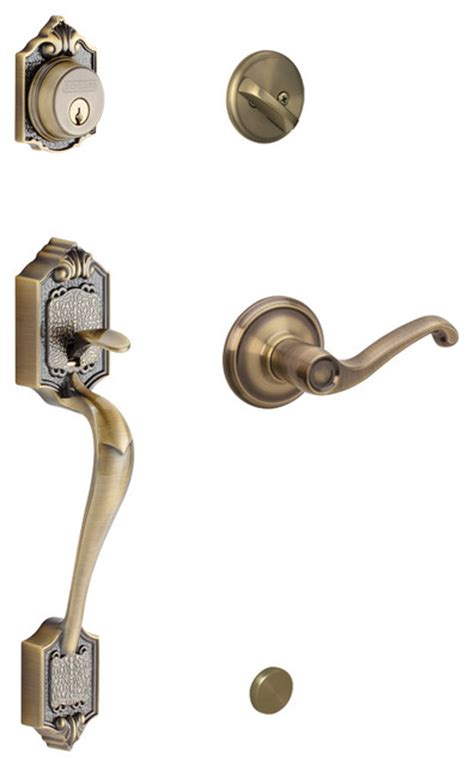 Schlage Interior Door Hardware Schlage Parthenon Handleset W Georgian Interior Knob In Antique Brass Modern Door Hardware