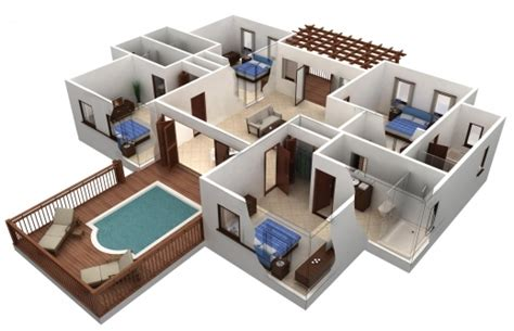 house design plans 3d 4 bedrooms simple 4 bedroom house plans 3d house floor plans