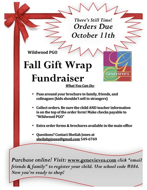 fall gift wrap fundraiser orders due 10 11 wildwood - Gift Wrap Fundraisers For Schools