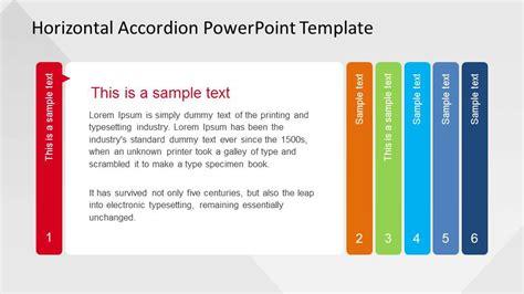 horizontal menu templates free horizontal accordion powerpoint template slidemodel