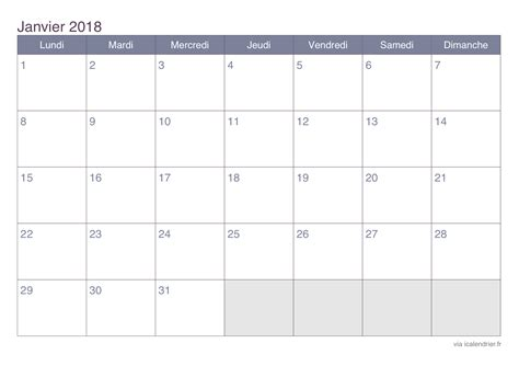 calendrier janvier 2018 224 imprimer icalendrier