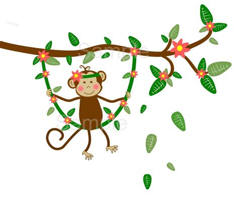 cartoon monkey swinging on a vine monkey swinging from tree clipart 35