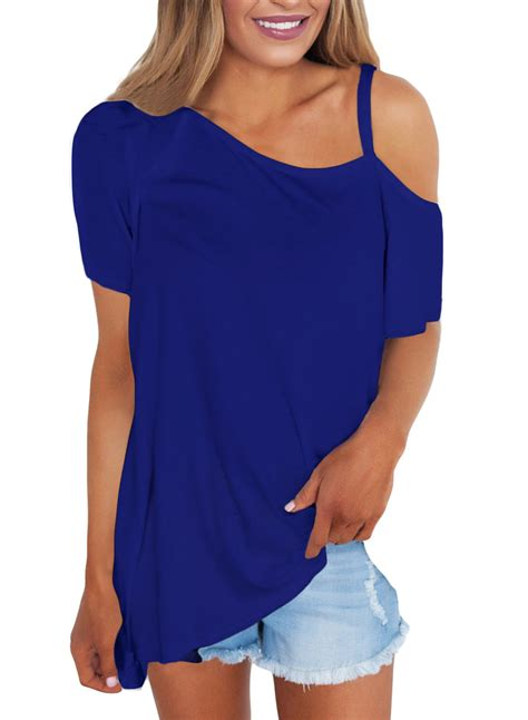 Sleeve Fit Top blue cold shoulder sleeve fit tops