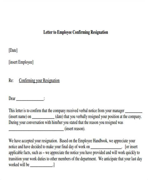 Confirmation Letter Exle Employee Resignation Acknowledgement Letter Templates 6 Free Word Pdf Format Free