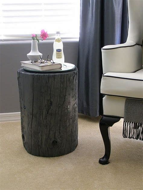 spray painting end tables wood stump side table spray paint diy furniture