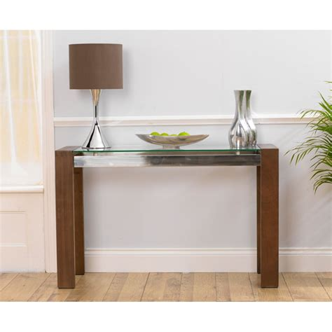 solid walnut console table harris roma solid walnut and glass console table
