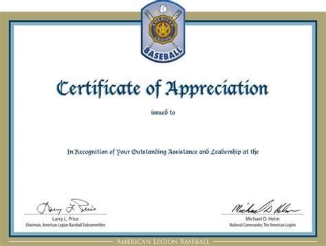 certificate of appreciation template doc baseball certificate templates free premium