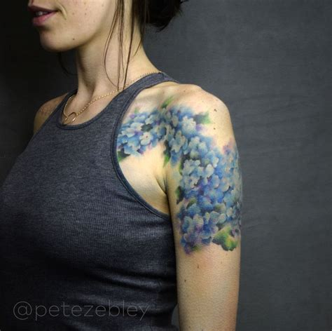 hydrangea tattoo hydrangea watercolor completed by pete zebley in