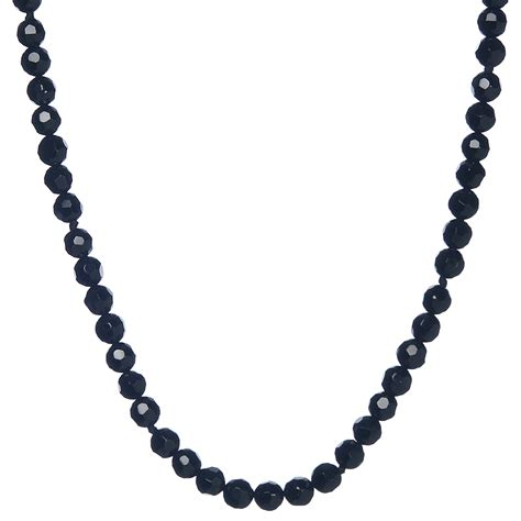black onyx bead necklace lita sterling silver faceted black onyx bead necklace 24