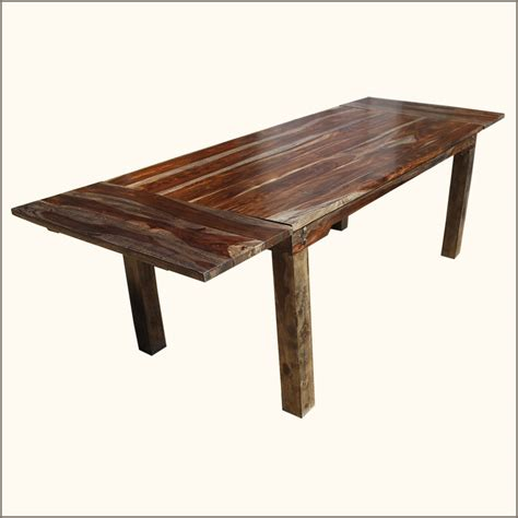 Wood Table With Leaf Rustic Large Dining Table With Leaves Seats 8 Solid
