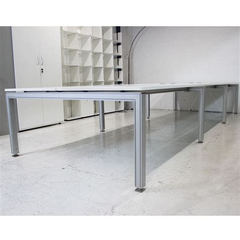 white bench desks white bench desk with aluminium frame white bench desk