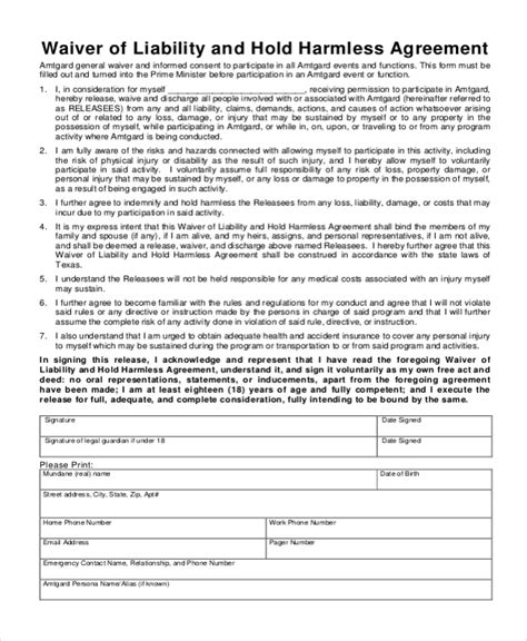 waiver of liability and hold harmless agreement template sle hold harmless agreement form 12 free documents