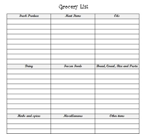 printable grocery list with categories grocery list with food categories