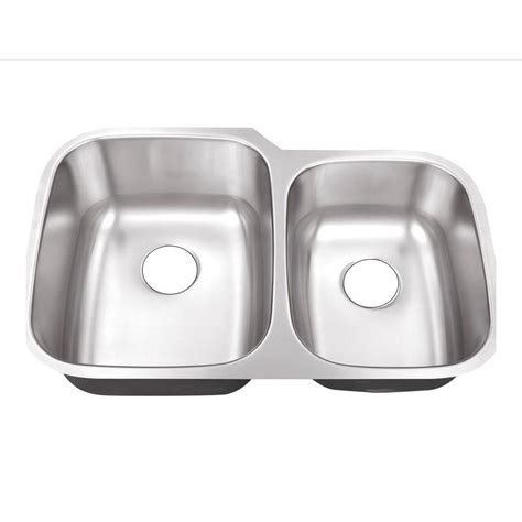 Schon All In One Undermount Stainless Steel 32 In Double Kitchen Sinks Stainless Steel Undermount