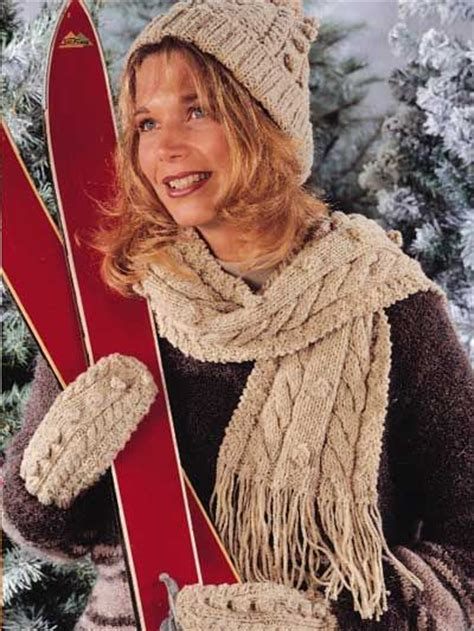 knitting pattern scarf and hat set knit patterns mittens and scarfs on pinterest
