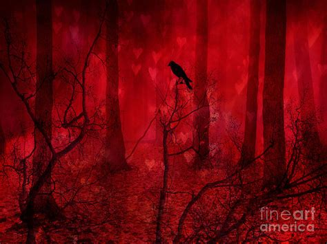 Wall Mural Templates surreal fantasy gothic red woodlands raven trees