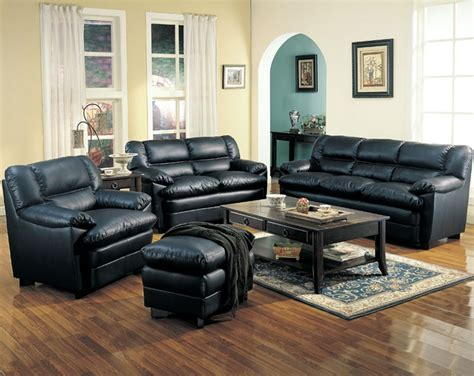 black livingroom furniture leather living room set in black sofas
