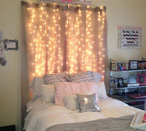 how to make curtain lights 15 diy curtain headboard with christmas lights home