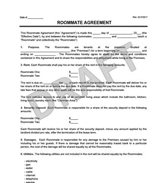 roommate agreement form roommate agreement contract create a free