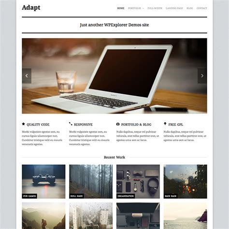 wordpress themes free video portfolio adapt free responsive business portfolio wordpress theme
