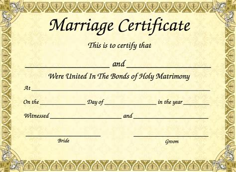 marriage certificate marriage certificate template