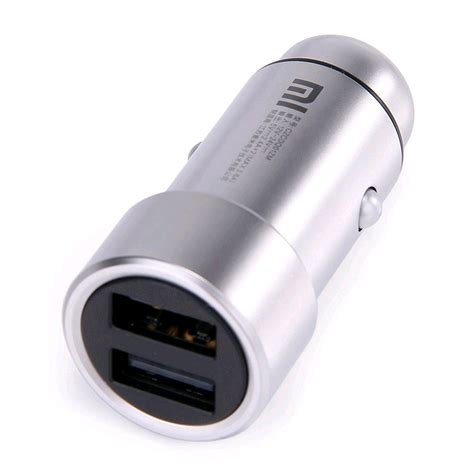 Xiaomi Metal Car Charger Silver xiaomi mi car charger dual usb port with led light silver prices features expansys