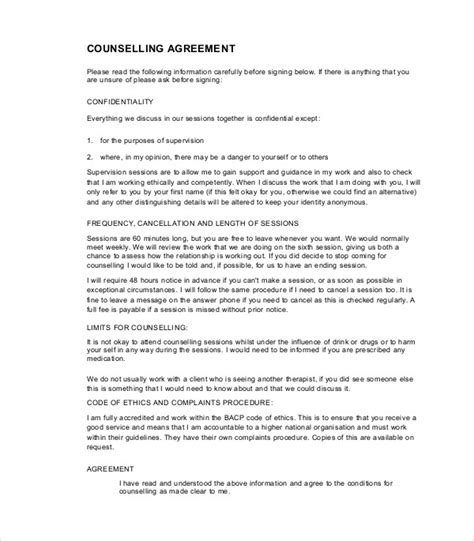8 Counselling Contract Exles Pdf Doc Therapy Contract Template