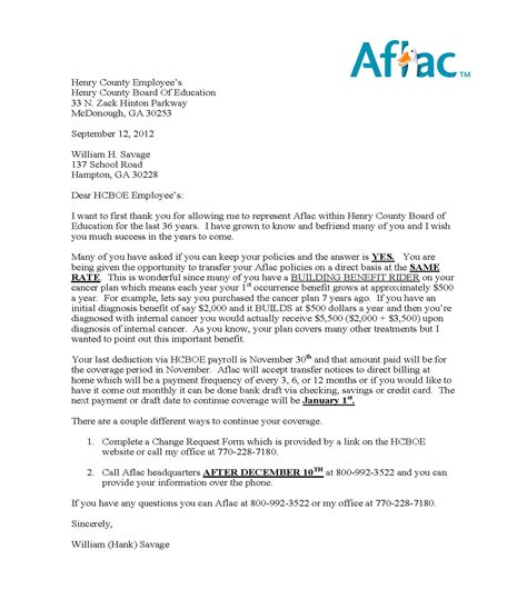 Insurance Letter To Employees Employee Benefits Aflac Insurance Continuation