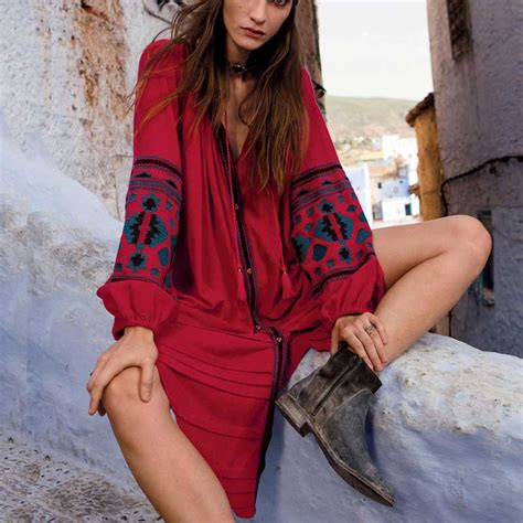 Promo Boho Chic boho inspired dress floral embroidery sleeve cotton autumn dress boho chic