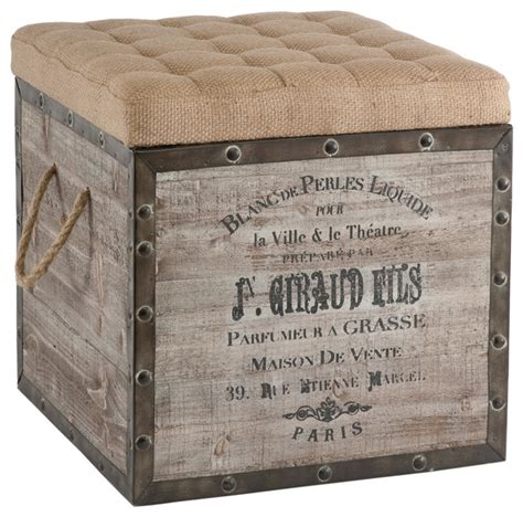 storage footstools ottomans vintage style crate storage ottoman transitional