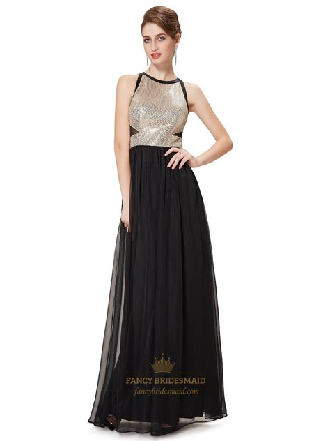 Floor Length Black Chiffon Dress by Black Chiffon Floor Length Prom Dress With Sequin