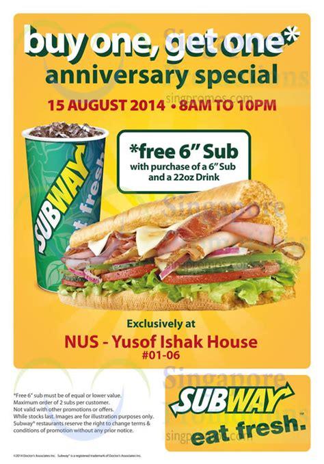 subway printable coupons free regular sub purchase subway buy 1 get 1 free bogo sub promotion nus 15 aug 2014