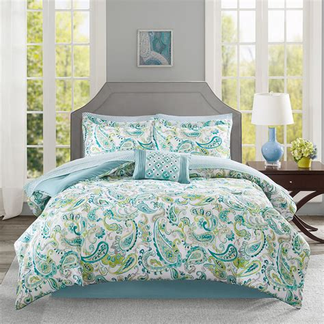 grey and green comforter beautiful modern chic blue aqua teal grey tropical green