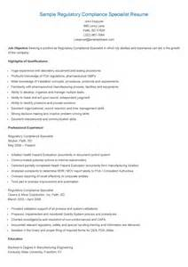 resume samples sample regulatory compliance specialist resume