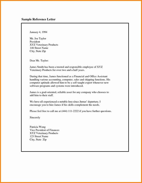 Reference Letter Exles For Employee 6 Reference Letter Template Resumed